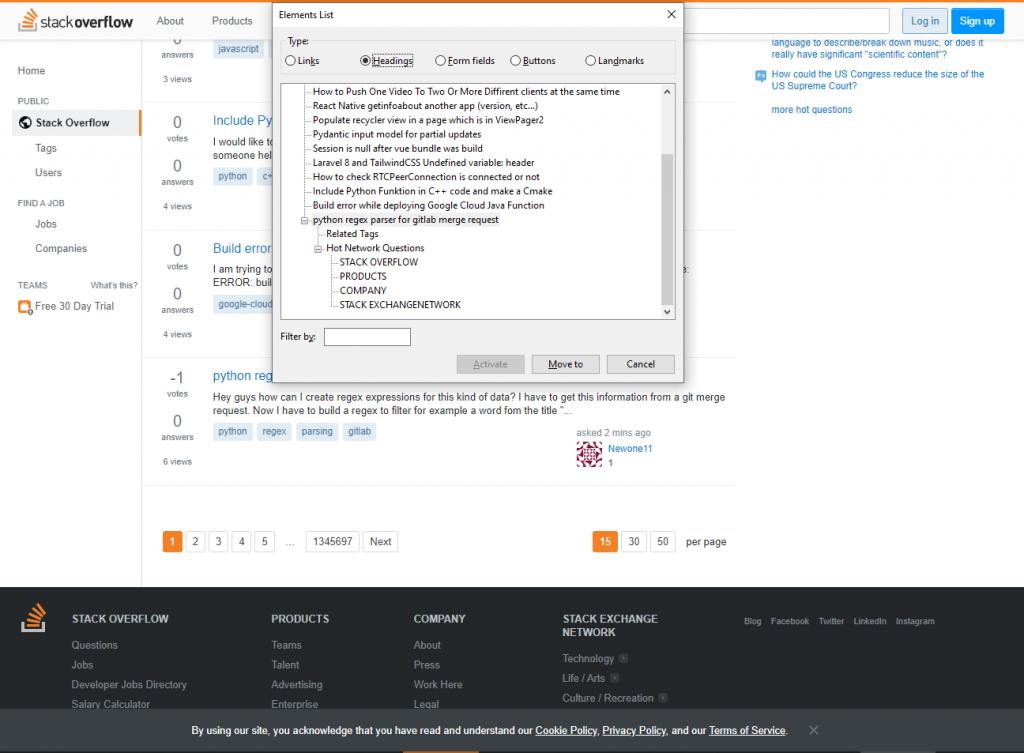 Stackoverflow page with NVDA headings menu